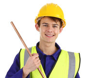 Plumber with a pipe Stock Photography