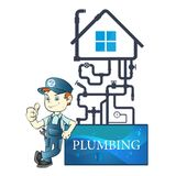 Plumber and pipeline Stock Photography