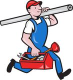 Plumber With Pipe Toolbox Cartoon Stock Photography