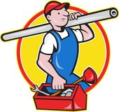 Plumber With Pipe Toolbox Cartoon Stock Photos