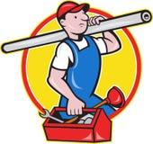 Plumber With Pipe Toolbox Cartoon Stock Photos