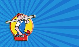 Plumber With Pipe Toolbox Cartoon Stock Images
