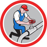 Plumber Pipe Worker Turning on Flow Circle Cartoon Royalty Free Stock Image