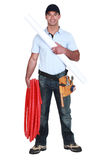 Plumber with piping Stock Photos