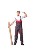 The plumber with plastic pipe isolated on white Stock Photos