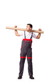 The plumber with plastic pipe isolated on white Royalty Free Stock Images