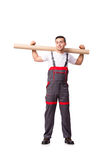 The plumber with plastic pipe isolated on white Stock Images