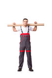 The plumber with plastic pipe isolated on white Royalty Free Stock Photography