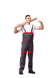 The plumber with plastic pipe isolated on white Royalty Free Stock Photo