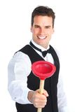 Plumber with a plunger Royalty Free Stock Photos
