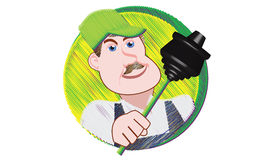 Plumber with Plunger. A plumber with a plunger gets ready for his next repair Royalty Free Stock Photo