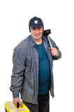 Plumber with a plunger on his shoulder Royalty Free Stock Photography