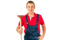 Plumber with plunger Royalty Free Stock Photography