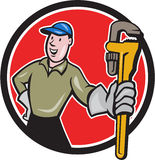 Plumber Presenting Monkey Wrench Circle Cartoon Royalty Free Stock Images
