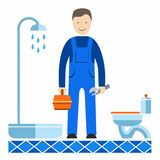 Plumber, profession, color picture. Color image of a plumber with a tool. Vector picture stock illustration