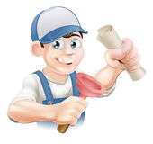 Plumber with qualification. Plumber or janitor with certificate, qualification or other scroll and plunger. Education concept for being professionally qualified Royalty Free Stock Photo