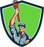 Plumber Raising Up Monkey Wrench Shield Retro Royalty Free Stock Photo