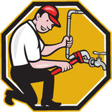 Plumber Repair Faucet Tap Cartoon Stock Photo
