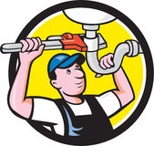 Plumber Repair Sink Pipe Wrench Circle Cartoon Stock Photos