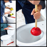 Plumber repairing a flush toilet Royalty Free Stock Images