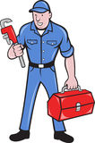 Plumber Repairman Holding Monkey Wrench Stock Photo