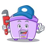 Plumber rice cooker character cartoon Royalty Free Stock Image