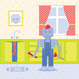 Plumber robot1. Plumber standing in the kithcen with tools Royalty Free Stock Images