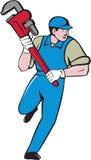 Plumber Running Monkey Wrench Cartoon Stock Image