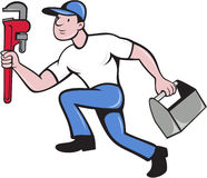 Plumber Running Toolbox Adjustable Wrench. Illustration of a plumber wearing hat running carrying adjustable wrench and toolbox viewed from the side set on Stock Photography