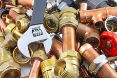 Plumber`s pipes and fittings Stock Photography