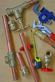 Plumber`s pipes and fittings Royalty Free Stock Images