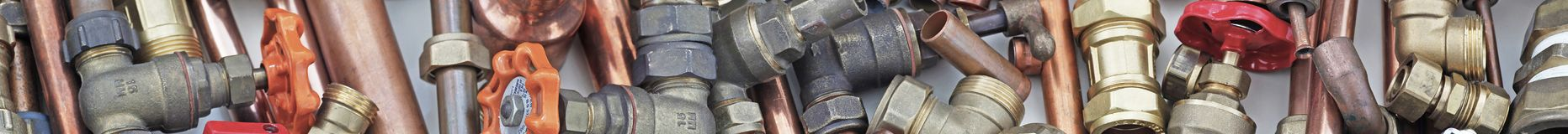 Plumber`s pipes and fittings website banner Royalty Free Stock Photography