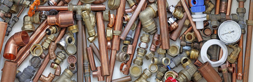 Plumber& x27;s pipes and fittings website banner Stock Images
