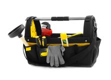 Plumber`s tool bag. On white background royalty free stock image