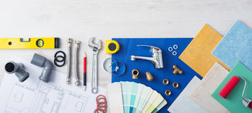 Plumber's work table Stock Images