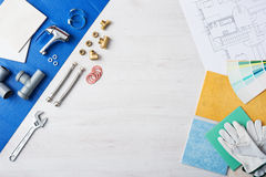Plumber's work table Stock Image