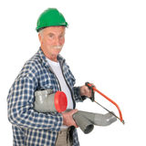Plumber sawing PVC Royalty Free Stock Image