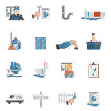 Plumber service flat icons collection Royalty Free Stock Image