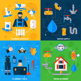 Plumber Service 4 Flat Icons Square Royalty Free Stock Photography