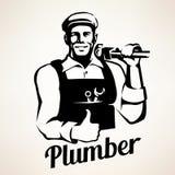 Plumber service portrait retro emblem Stock Photo