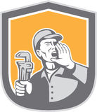 Plumber Shouting Holding Wrench Shield Retro Royalty Free Stock Images