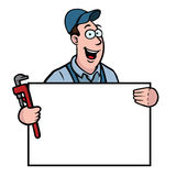 Plumber with sign. Plumber holding a sign and a wrench Stock Images
