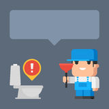 Plumber smiling holding plunger concept. Illustration, plumber smiling holding plunger concept, format EPS 8 Stock Photo