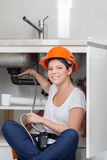 Plumber smiling Royalty Free Stock Images
