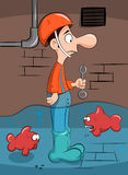 Plumber solves the problem with fish. Royalty Free Stock Image