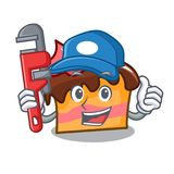 Plumber sponge cake mascot cartoon. Vector illustration Stock Photos