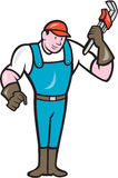 Plumber Standing Monkey Wrench Cartoon Stock Photography