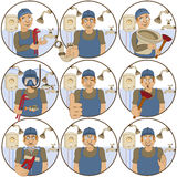 Plumber stickers Royalty Free Stock Photos