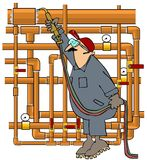 Plumber Sweating Copper Pipe. This illustration depicts a man in coveralls using an acetylene torch to sweat copper piping Royalty Free Stock Images