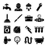 Plumber symbols icons set, simple style Stock Image